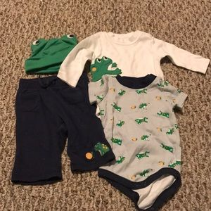 4pc baby boys Gymboree frog outfit 0-3m